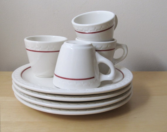 RESERVED vintage Syracuse restaurant china cups, dinner plates, service for six
