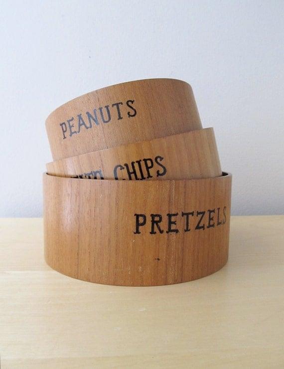 vintage teak snack set nesting bowls