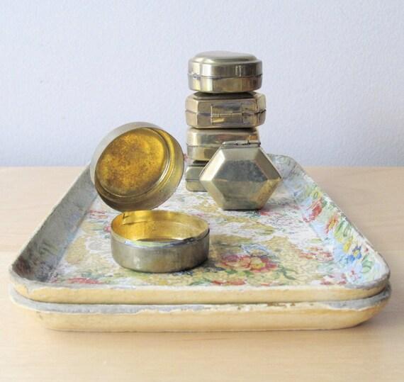 instant collection, vintage brass pill box, destash, assemblage, jewelry supplies