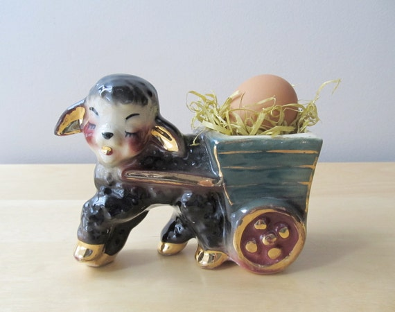 black sheep, lamb with cart, 22k gold accent pottery planter
