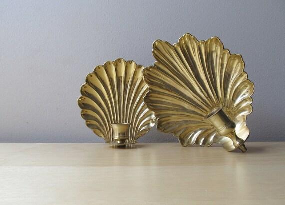 vintage candle holder sconce, brass scallop or acanthus leaf