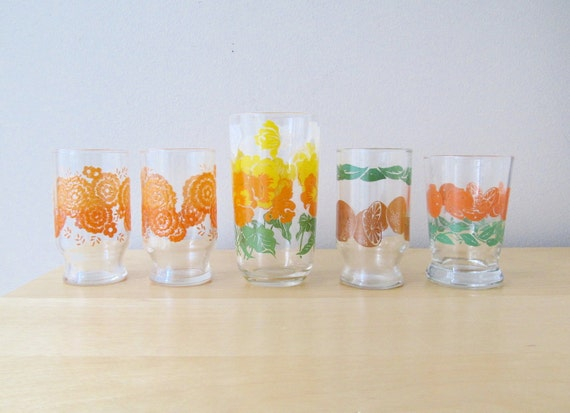 instant collection vintage orange juice glasses