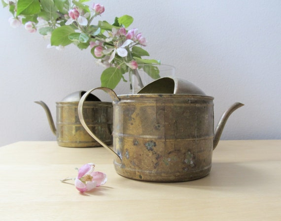 small vintage brass watering can