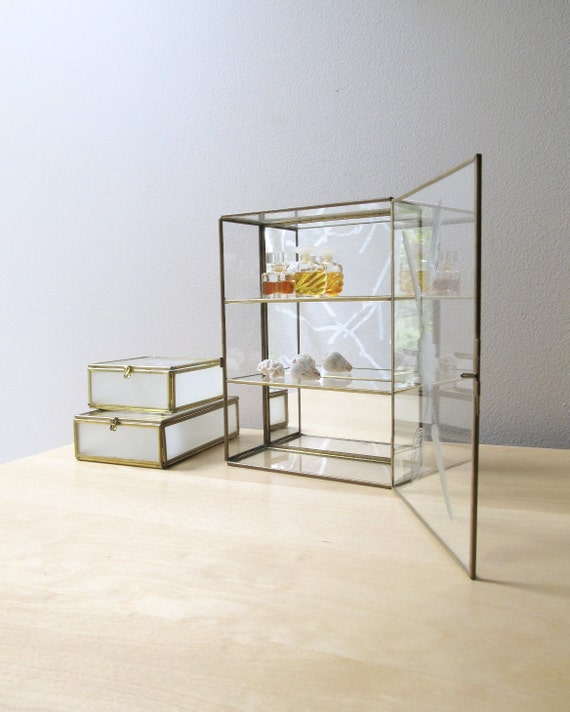 vintage curio mirror display cases, etched, frosted glass, miniatures, instant collection