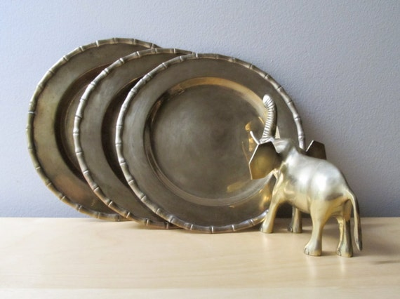 small brass charger, vintage brass plates, faux bamboo design