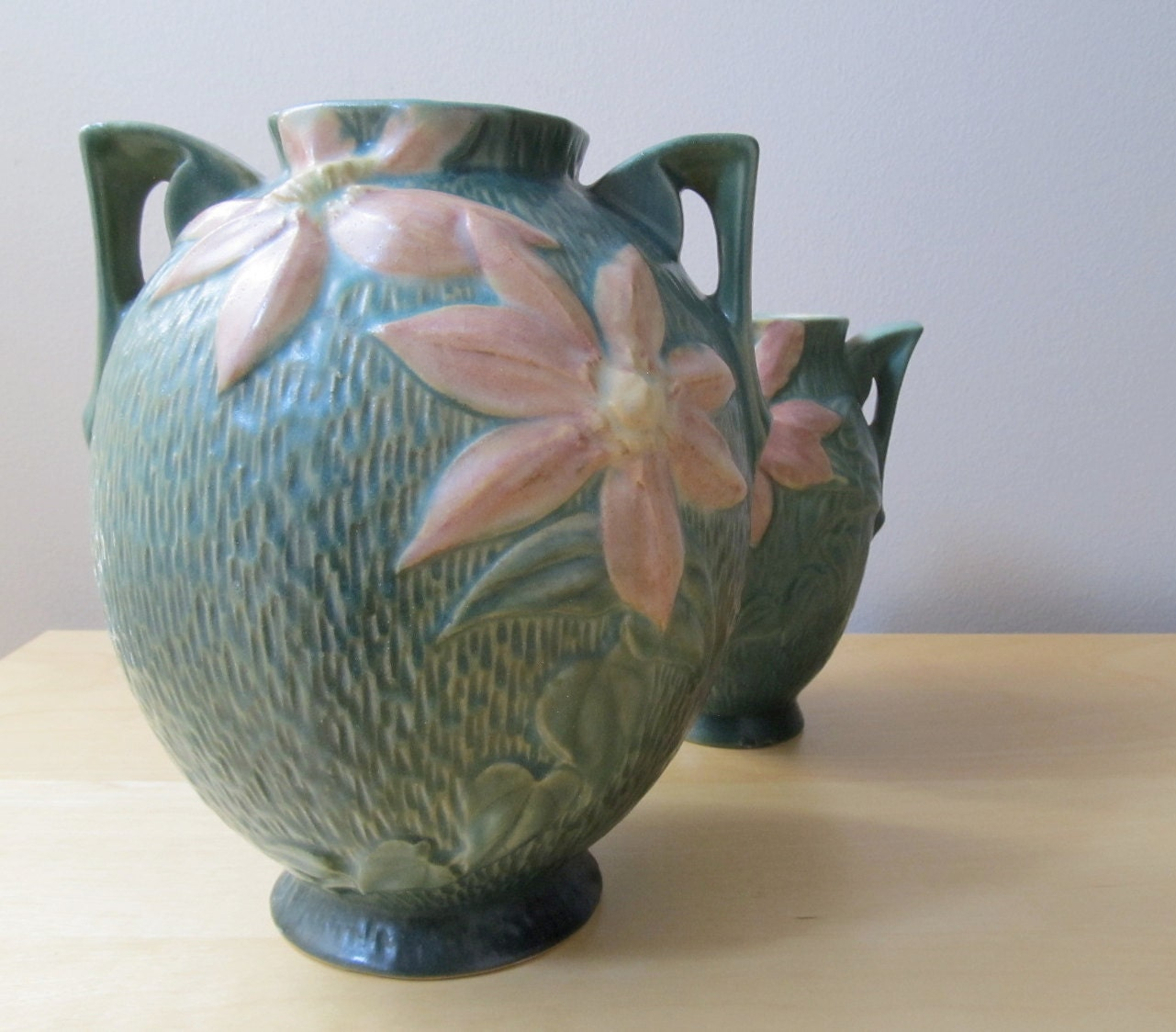 antique roseville pottery vase pink and green clematis 107 8