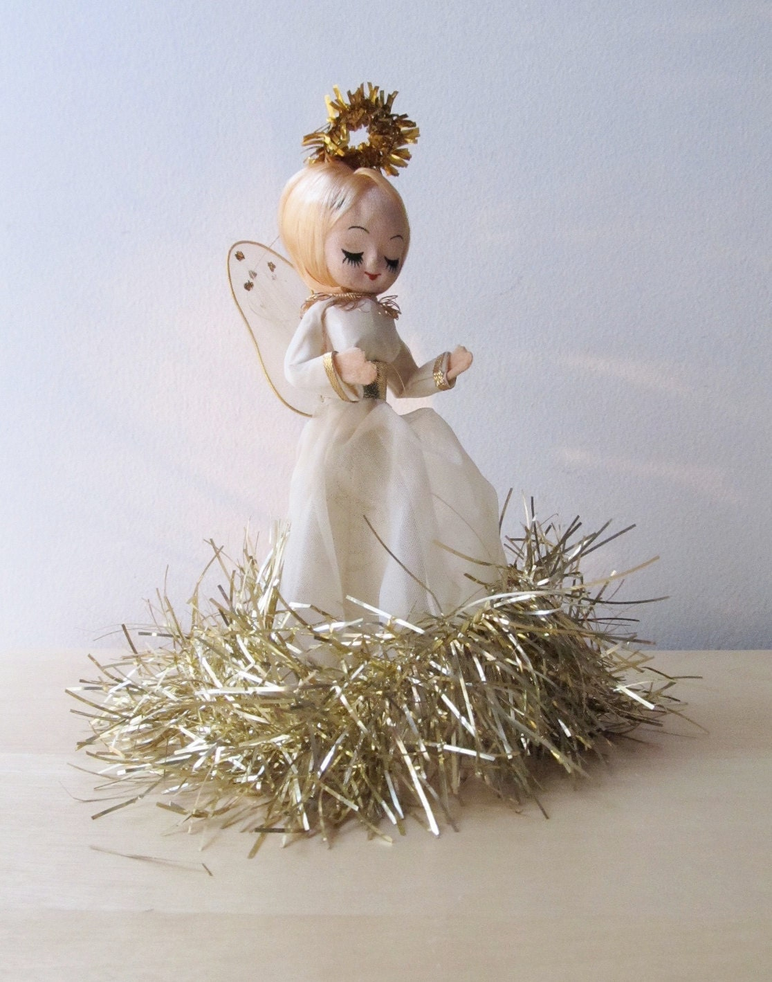 vintage tinsel angel christmas tree topper