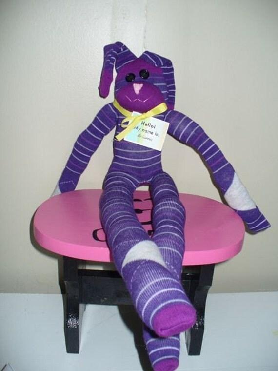 Purple and Pink Sock Bunny