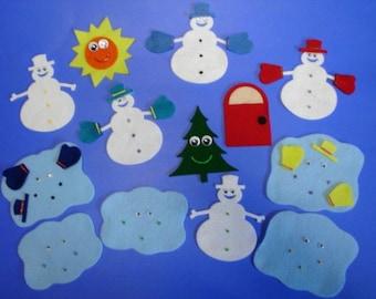 5 Little Snowmen Flannel Felt Board Set