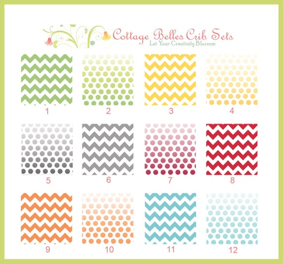 Baby Crib Sheet - Chevron Stripes and Ombre Dots  - Toddler Bed Sheet, Design Your Own, You Choose the Fabric