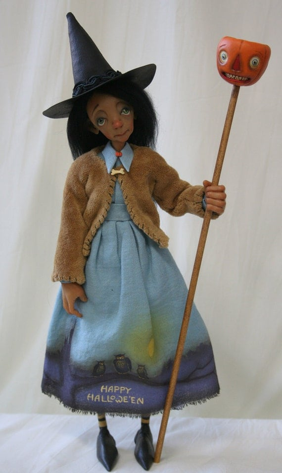 OOAK Sculpted Art Doll, Witch, Painted Dress, Ehag