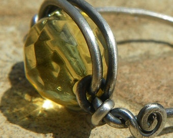 Solar November Birthstone Citrine and Sterling Silver Wire Wrapped Cocktail Ring - Handmade