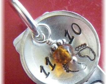 Sterling Silver and  Swarovski Birthstone Crystal Personalized Name /Date Necklace- Round, Dog Tag - Bride Wedding Mom Grandma-Handmade