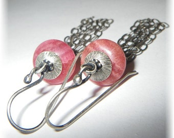 Sterling Silver Tassel and Natural Red Rhodochrosite Stone Boho Fringe Earrings - Handmade