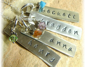 Custom Sterling Silver Personalized Stamped Dogtag Style Birthstone Necklace - 4 Four Names - Great Mother or Grandmother Gift - Handmade