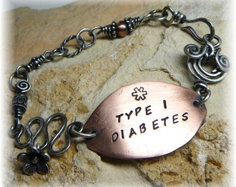 Bohemian Swirl Medical ID or Personalized Medic Alert Bracelet in Copper and Sterling Silver - Diabetes Asthma Made to Order - Handmade