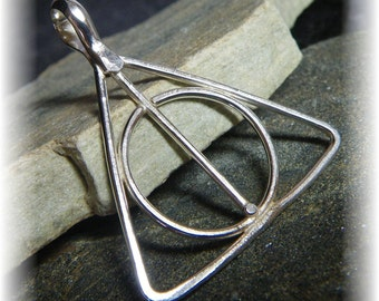 Deathly Hallows Harry Potter Inspired Pendant Necklace in Sterling Silver - Hand Forged to Order - You Choose Your Finish