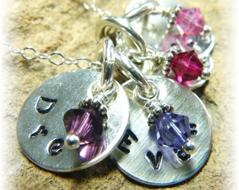 Sterling Silver Personalized Stamped Small Disc Crystal Birthstone Necklace -4 Four Names- Great Mother Gift - Handmade