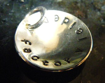 Sterling Medical ID Alert or Anniversary Wedding Date or Whatever 3/4 Inch Silver Disc Charm - Personalized and Handmade to Order