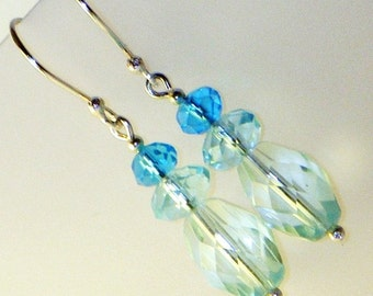 Sterling Silver and Aqua Glass Beach Earrings