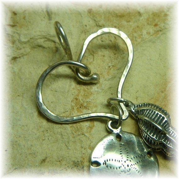 Sterling Silver Thick Organic Heart Charm Holder for Your Own Charms - You Choose Your Finish - Handmade to Order