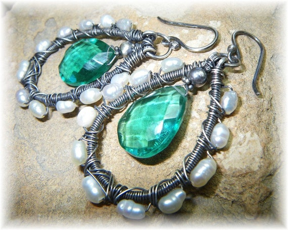 Forest Pearl Earrings - Organic Oxidized Sterling Silver June Birthstone Pearls and Intense Green Hydro Quartz - Wire Wrapped and Handmade