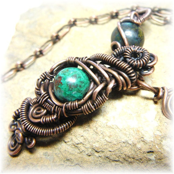 Genuine Turquoise and Copper Wire Wrapped Necklace - Bohemian Steampunk Wild Thing- Handmade and Oxidized