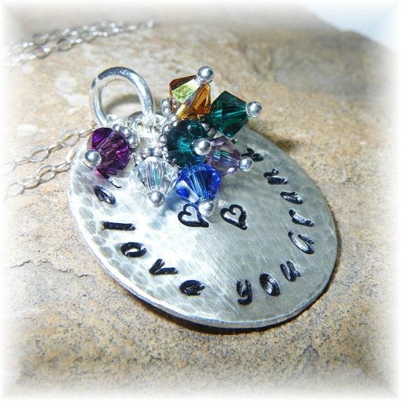Mommy Keepsake Necklace Large Sterling Silver Disc Swarovski Birthstones -Circle of Love- We Heart You Mother Grandmother - Handmade