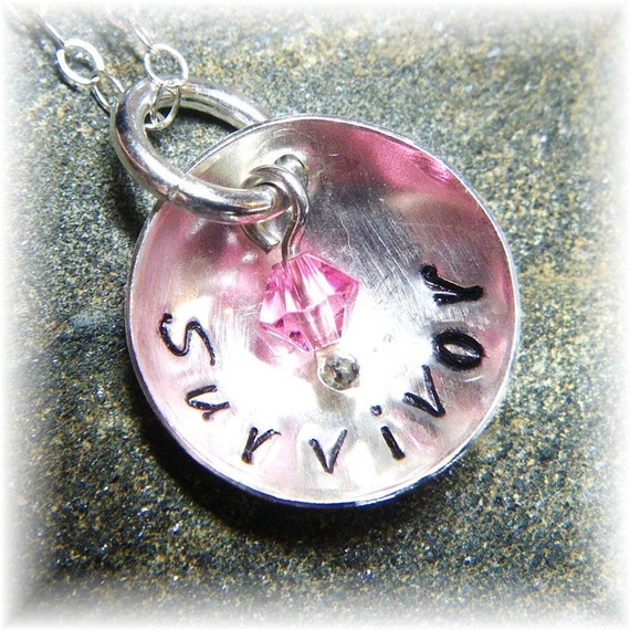 Sterling Silver Personalized Stamped Survivor 5/8 In Disc Crystal Necklace -Breast Cancer Survivor - Handmade to Order