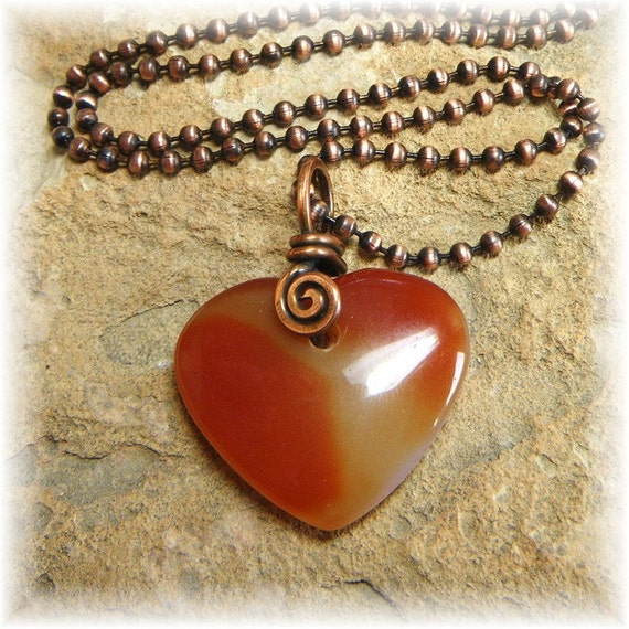 Natural Agate Heart and Pure Copper Spiral Necklace - Earthy Organic Simple and Handmade -Ready to Ship