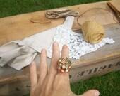 Vintage beaded gem leaf ring - by simplyworn