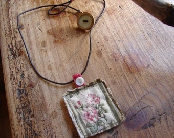 stiched prairie  rose necklace -  by simplyworn
