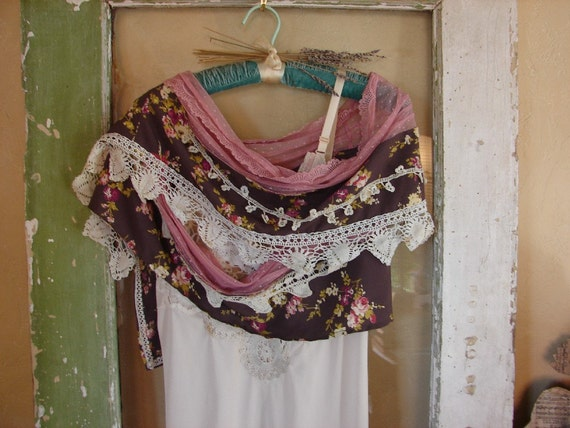 Romantic prairie shawl or scarf with rosette brooch