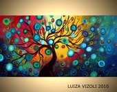 INNER JOURNEY 72x36 Original Modern Fantasy Landscape Tree Oil Painting by Luiza Vizoli