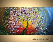 FREE SHIPPING Original Modern Abstract Flowers Tree Landscape Palette Knife Large Painting by Luiza Vizoli