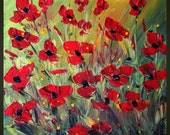 Original Modern Abstract Palette Knife Oil Painting RED FLOWERS by Luiza Vizoli