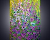 Original Modern Abstract Palette Knife Impasto Oil Large Painting SUMMER FLOWERS 36x24 canvas by Luiza Vizoli