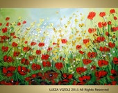 WILDFLOWERS 20 percent OFF use code SUMMER2011 Original Modern Abstract Floral Landscape Palette Knife Impasto Oil Painting by Luiza Vizoli