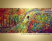 Modern Impressionist Painting FALL PARK Trees Landscape Colorful Large Artwork Embellished Giclee Canvas  by Luiza Vizoli