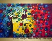 Original Fantasy Colorful Tree Birds Modern Painting SERENADE at SUNSET by Luiza Vizoli