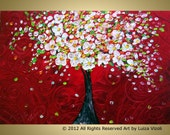 Cherry Tree Blossom Embellished Giclee Contemporary Textured Hand Print RED SUNSET by Luiza Vizoli