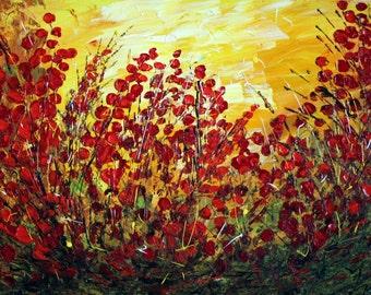 SECRET GARDEN Original Impasto Palette Knife Oil Painting Red Flowers Contemporary Art