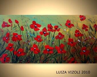 Original Modern Red Flowers Impasto Oil Painting Large Canvas Poppy Floral Art by Luiza Vizoli