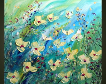 Original Modern Palette Knife Impasto Flowers Oil Large Painting WILDFLOWERS by Luiza Vizoli