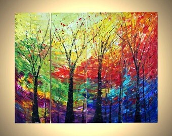 TREES and SEASONS Original Palette Knife Oil Painting by Luiza Vizoli 48x36 Made to Order