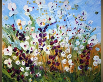 WILDFLOWERS MEADOW Original Modern Palette Knife Flowers Oil Painting on Gallery Canvas 20x20 by Luiza Vizoli made to order