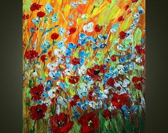 WILDFLOWERS IN BLOOM Original Modern Abstract Impasto Palette Knife Flowers Painting by Luiza Vizoli