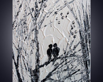 Original Painting SERENADE in BLACK and WHITE Modern Abstract Birds Trees Landscape Palette Knife Oil Painting by Luiza Vizoli