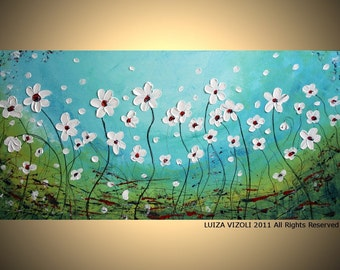 Original Modern Abstract Impasto Palette Knife Oil Painting WHITE FLOWERS in the BREEZE by Luiza Vizoli