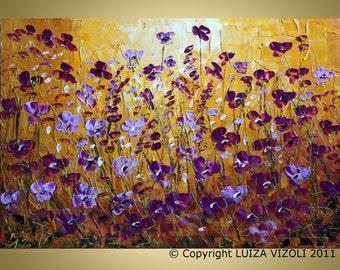 Original Modern Abstract Palette Knife Painting WILD FLOWERS by Luiza Vizoli 36x24